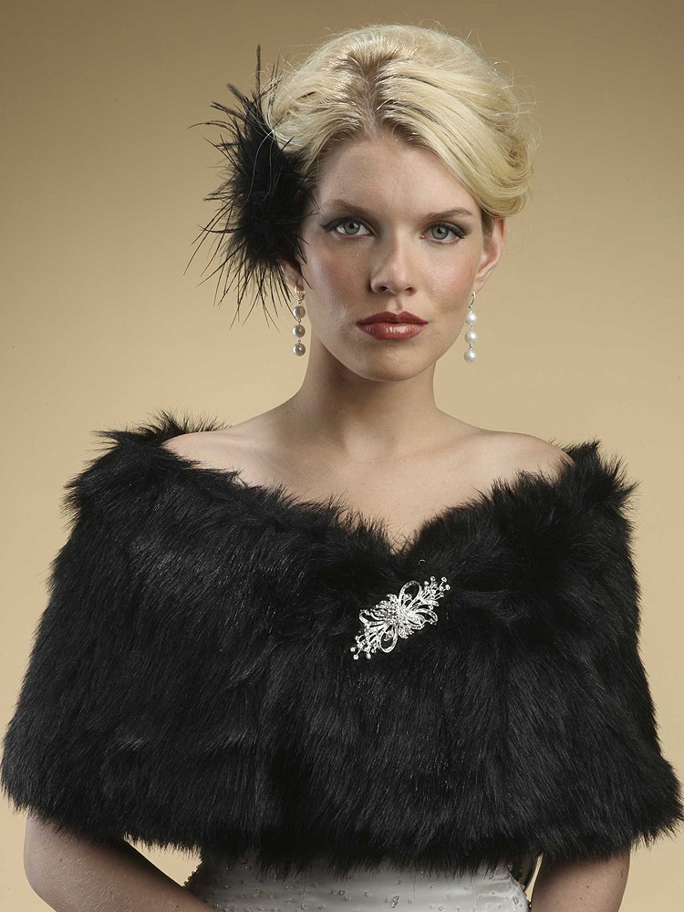 Wholesale Faux Fur Shawl With Jet Black Fox Bridal Jewelry