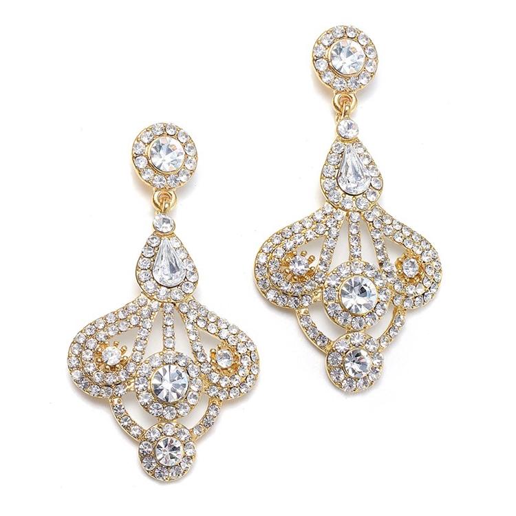Art Deco Fan Wholesale Rhinestone Earrings Gold Mariell