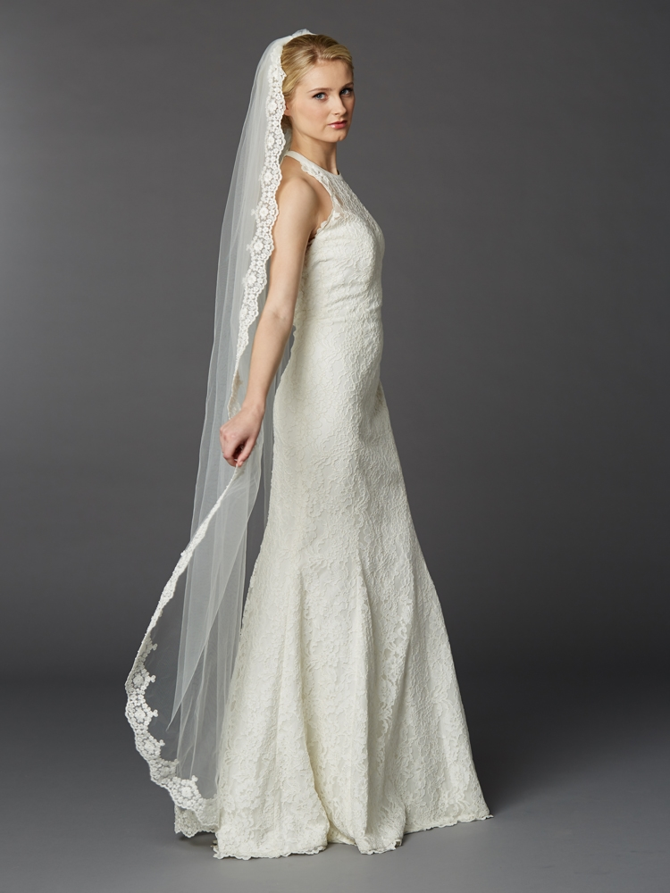 Wholesale Floor Length Bridal Mantilla Veil With Lace Edge