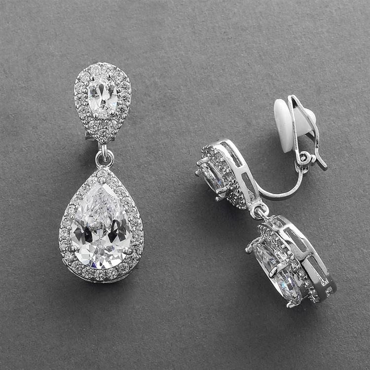 Lustrous Wholesale Cubic Zirconia Teardrop Wedding Clip