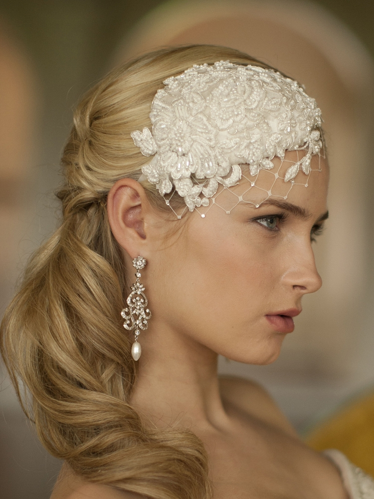 Wholesale Retro Lace And Silk Bridal Cocktail Hat With