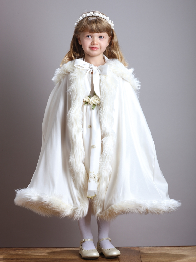 Children S Ivory Hooded Satin Cloak With Faux Fur Trim