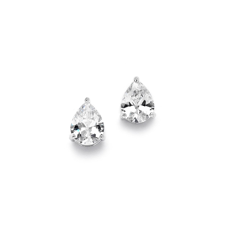 2 00 Ct Cubic Zirconia Pear Shape Stud Earrings For