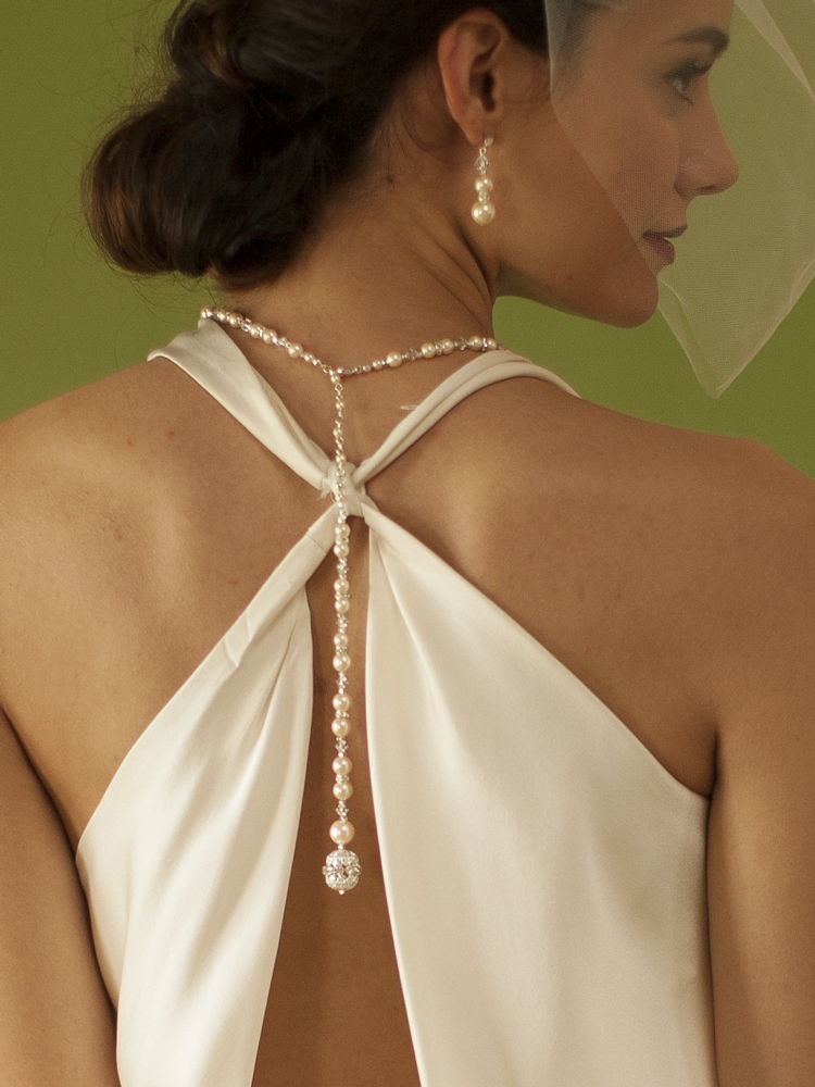 Ivory Pearl Amp Crystal Long Back Necklaces For Bridal