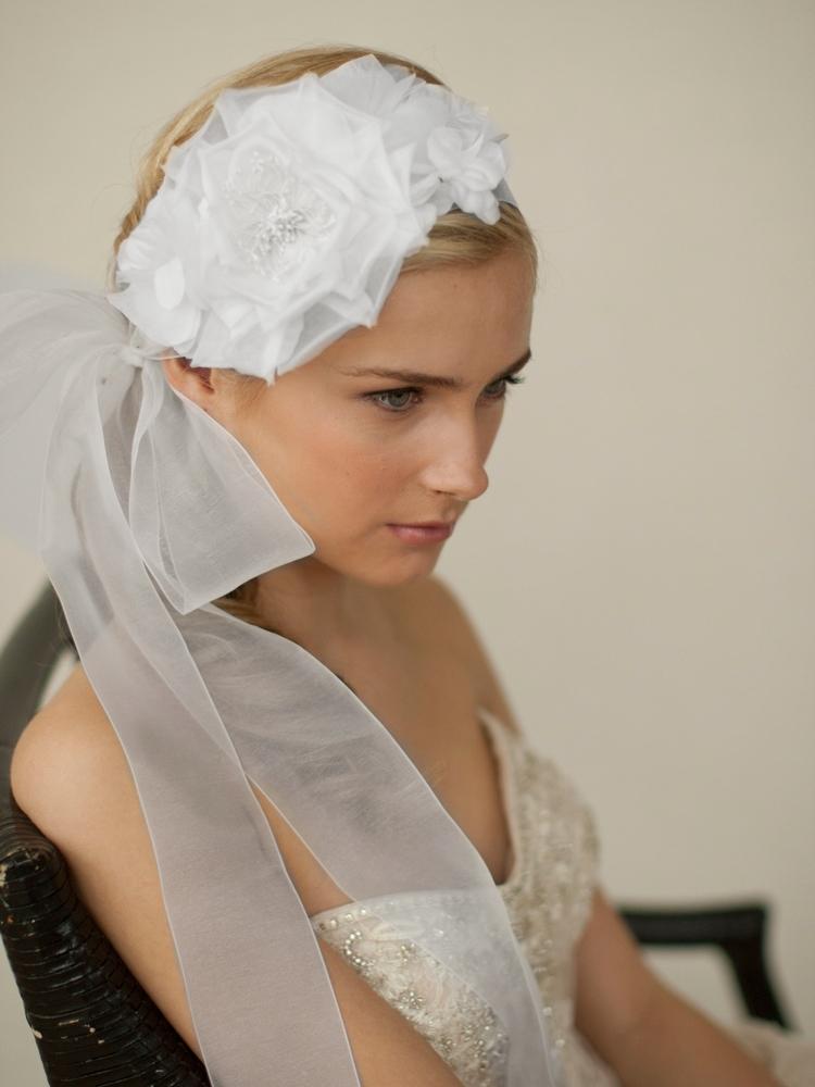 Handmade white silk flower bridal headband with wide sheer ribbon handmade white silk flower bridal headband with wide sheer mightylinksfo
