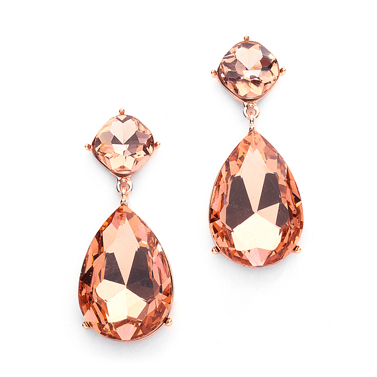 Chunky Champagne Crystal Wedding Or Prom Earrings In Rose