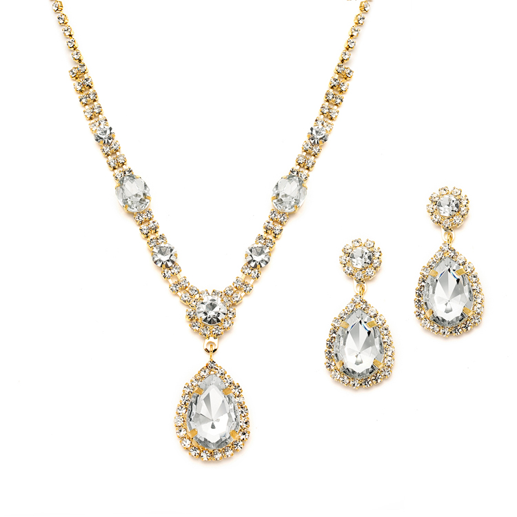 Gold And Clear Rhinestone Necklace Amp Earrings Set For Prom