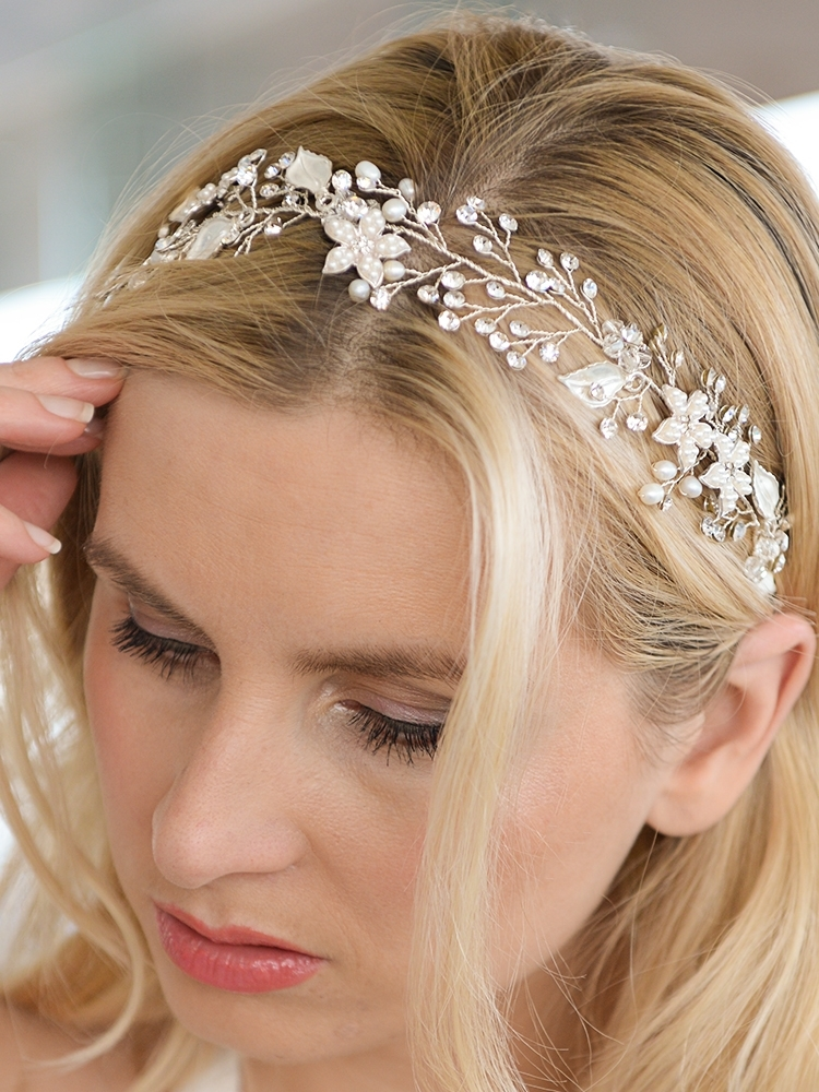 designer bridal ribbon headband with hand painted silver leaves