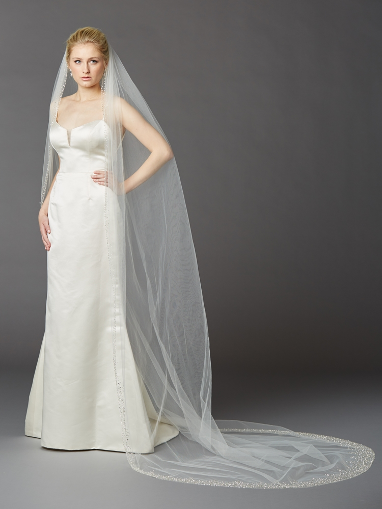 Breathtaking 1 Layer Cathedral Wedding Veil With Dramatic