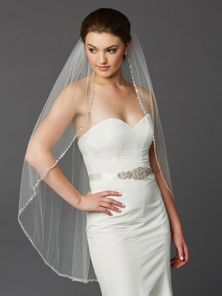 Glistening Beaded Edge Long Fingertip Wedding Veil