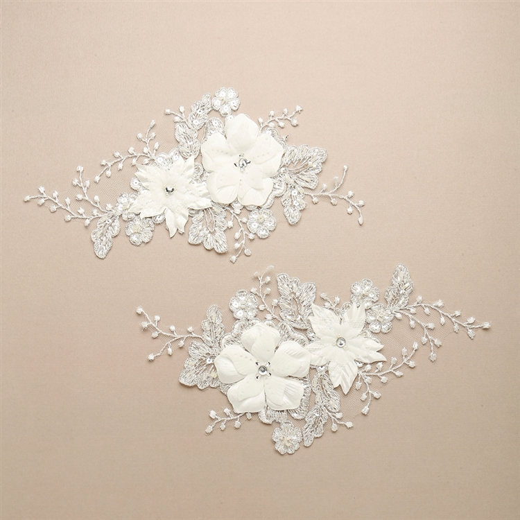 bridal wedding ivory sequined bolero lace applique floral embroidered lace motif