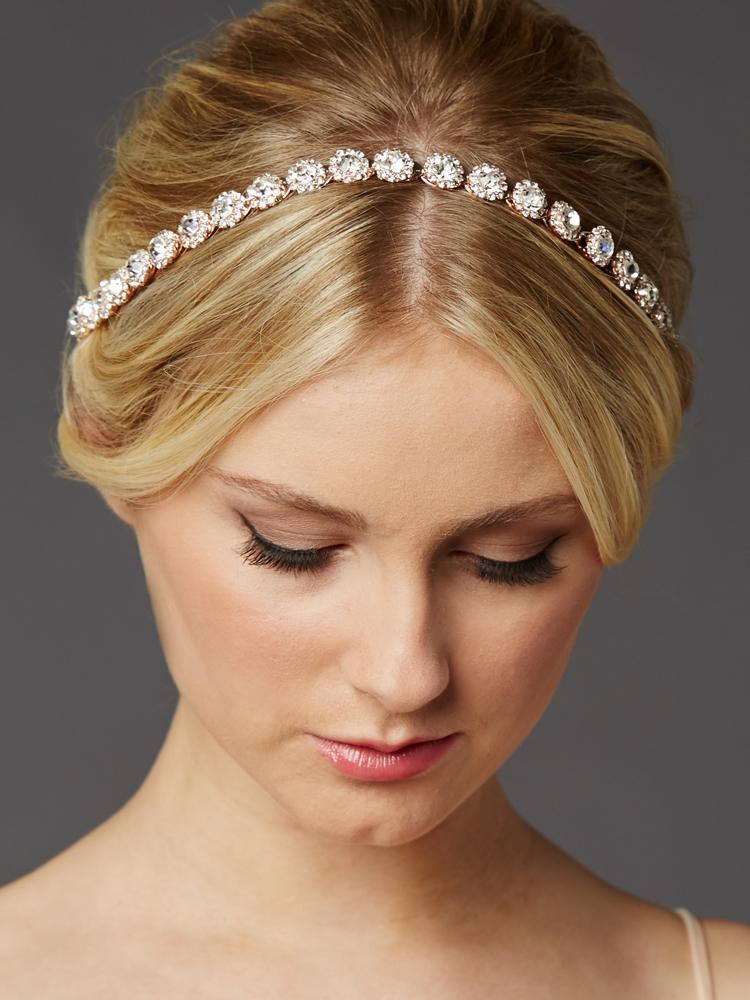 Rose Gold Bridal Headband With Genuine Preciosa Crystals
